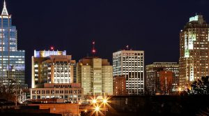 The skyline of Raleigh, one of the best cities in North Carolina to get a job