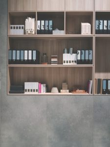 shelves with documents