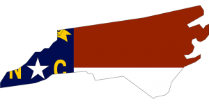 NC map with a flag