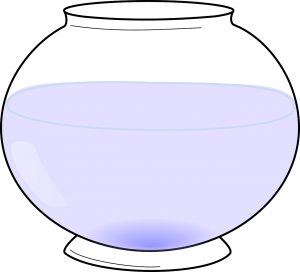 A fishbowl filled with water