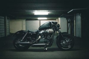 motorcycle in the garage