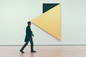 Man walking trough the gallery