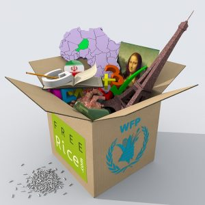 Box with items to donate after unpacking your office