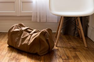 A bag on a wooden floor