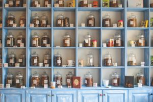 Shelves filled with jars