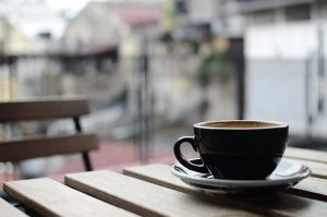 A cup of coffee on a cafe table